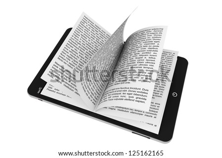 Book from Tablet PC on a white background