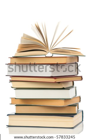 Book heap isolated on white background