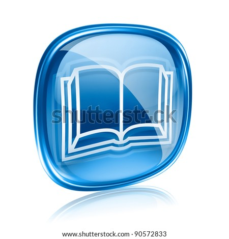 book icon blue glass, isolated on white background.
