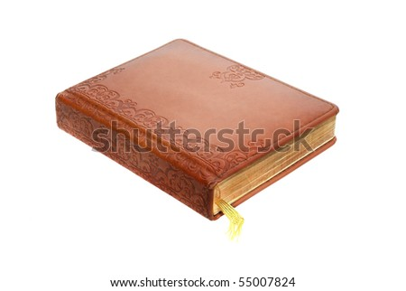 Book in leather cover with a bookmark. Brown Leather diary, isolated on white background.