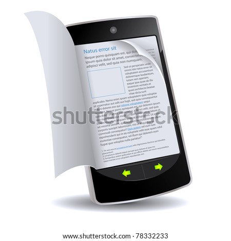 Book in Smart phone App/ Illustration of a realistically flipping e-book on an smartphone imaginary model. Latin text inside