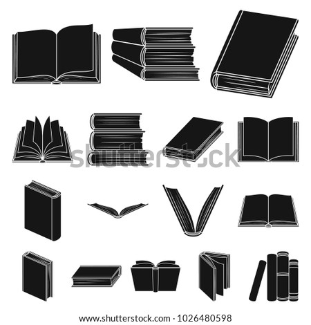 Book in the binding black icons in set collection for design. Printed products bitmap symbol stock web illustration.