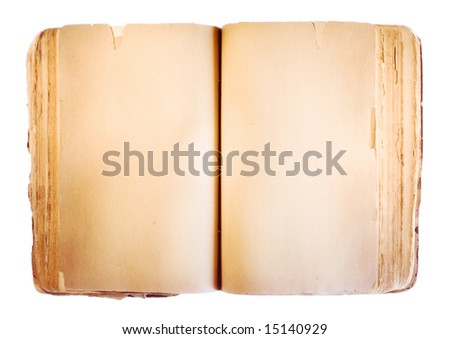 Book isolated on white background. Old, open, blank.