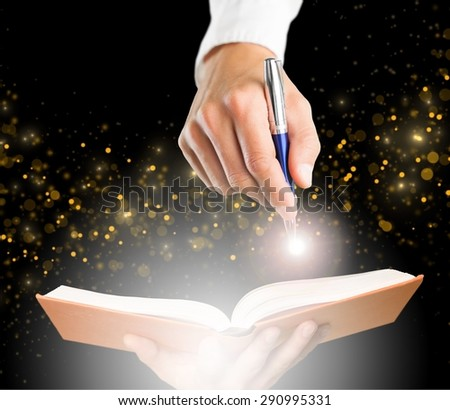 Book, light, writer.