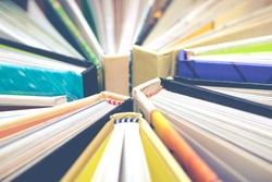 book & magazine + vintage filter for education / publishing background concept