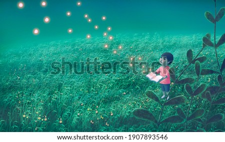 Book of imagination with a boy, Education dream hope inspiration and freedom concept, surreal painting. Fantasy art, conceptual artwork, happiness of child , 3d illustration ストックフォト ©