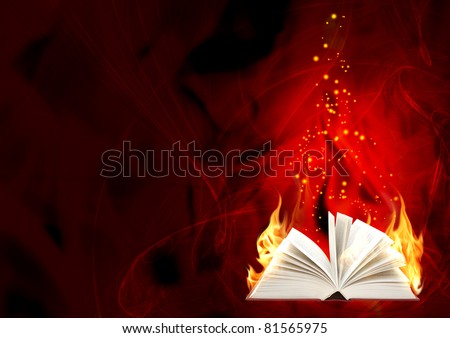 Book of magic fire. Horizontal background
