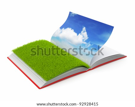 Book of  nature 3D. Photo album. Isolated on white background