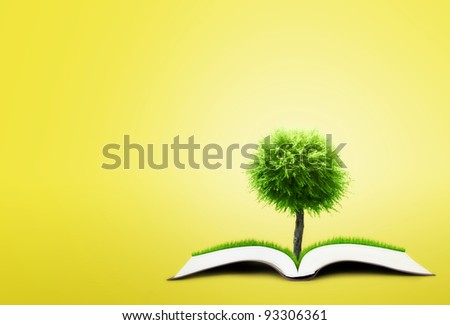 book of nature on yellow background