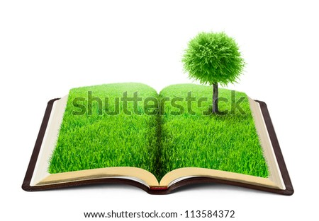 book of nature with grass and tree over white background