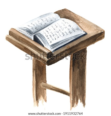 book of the Torah Pentateuch of Moses is open on the prayer table. Hand drawn watercolor illustration, isolated on white background Foto stock ©