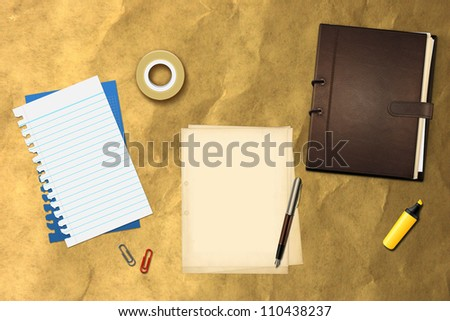 Book office papers and pen