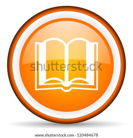 book orange glossy circle icon on white background
