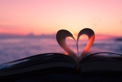 Book page decorate in heart shape