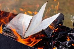 Book pages in flames. Burning old unnecessary books