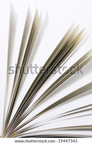 book pages on white background close-up