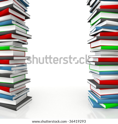 Book piles forming a copy-space frame for educational or science subject