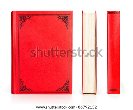 book set red color isolated on white