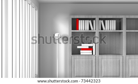 Book shelf and open windows tall with white and red books on the shelf, open white room