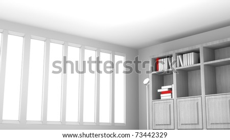 Book shelf and open windows tall with white and red books on the shelf, open white room angle shot