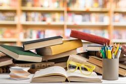 Book, shelf, table.