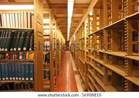 Book shelves in a public library