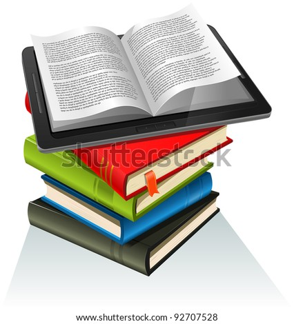 Book Stack And Tablet PC/ Illustration of a tablet pc e-book set upon a book stack. Imaginary model of e-book not made from a real existing product or copyrighted model