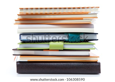 Book stack on white isolated