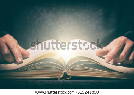 book wisdom life read magic background magical light open old concept religion parchment club literature fiction dictionary concept - stock image