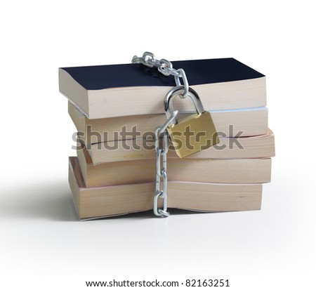 book with a chain and Key