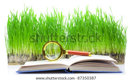 Book with a magnifier, on against a green grass.