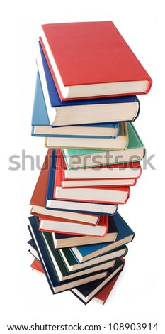 Book with color cover pile isolated on white background - stock photo