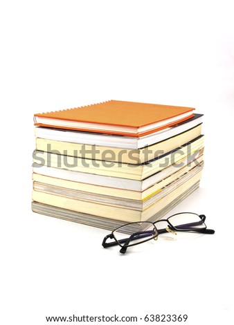 book with Eyeglass isolated on white background