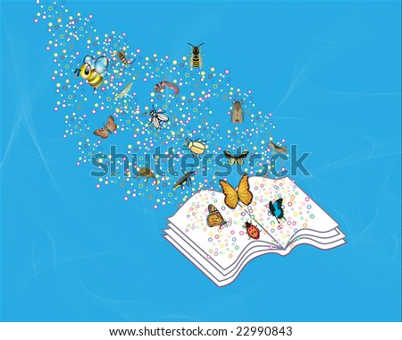 Book with insects flying off the page