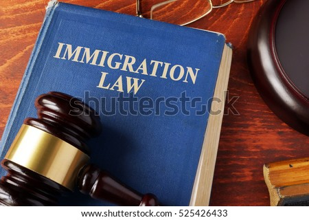 Book with title immigration law on a table.
