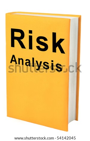 Book with words Risk Analysis on yellow cover