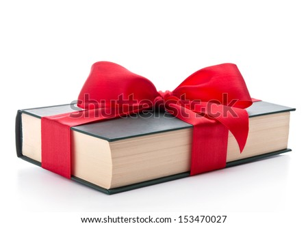 Book wrapped with a ribbon