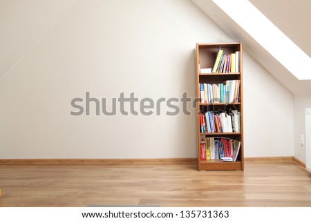 Bookcase In Empty Room