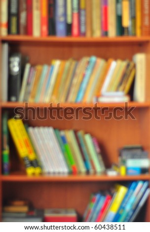 Bookcase shot with soft focus, as a blurred background.