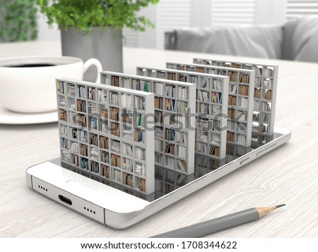 Bookcase with books on a smartphone screen on a desktop. Electronic library in a mobile phone. Distance education and self-study. Books online. Creative conceptual 3D rendering