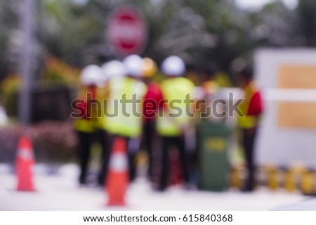Booked People at work with safety jacket and hat #615840368