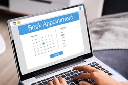 Booking Meeting Appointment On Laptop Computer Online