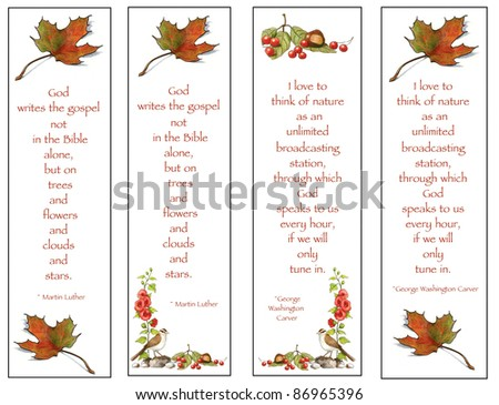 Bookmarks With Nature Theme: Drawings