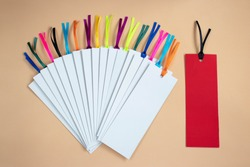 Bookmarks with stripes on a beige background