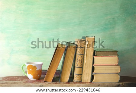 books and a cup of coffee reading learning concept free copy space