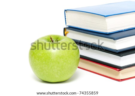 books and an apple ack to school concept