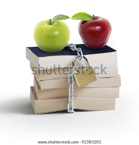 books and apple - stock photo