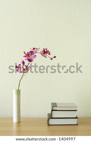Books and flower, home decoration concept