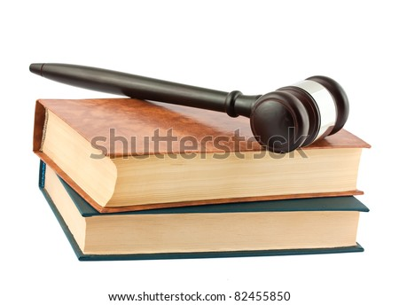 Books and gavel isolated on white background
