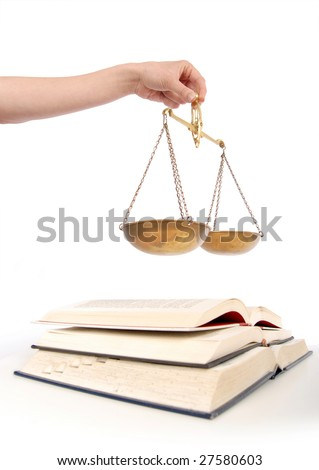 Books and legal balancing scales of equality